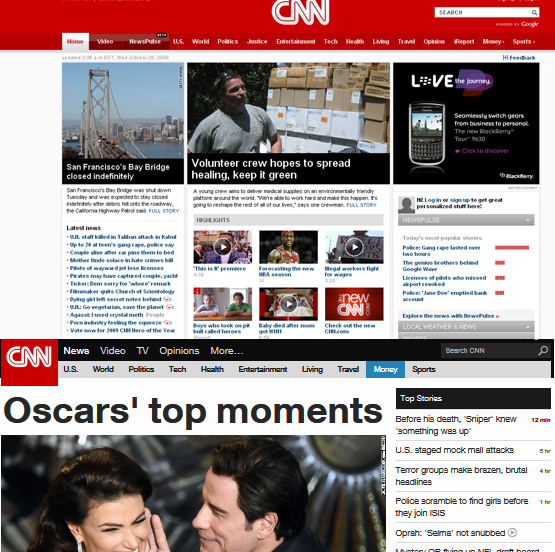 Old and New CNN Website